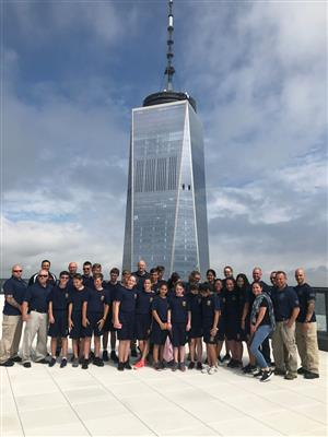 Photo of the junior police in front of the world trade center